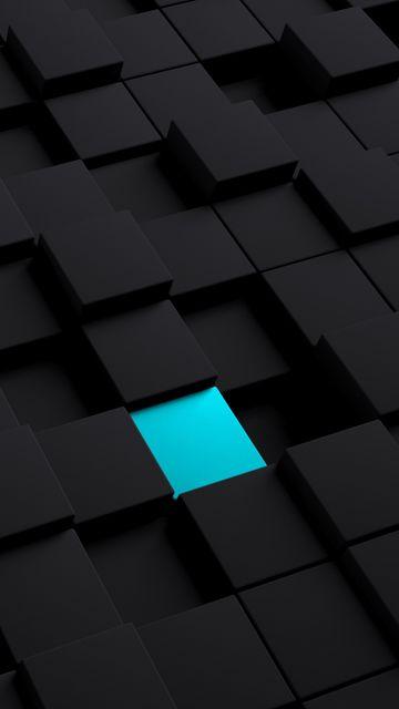 360x640 Wallpaper cubes, structure, black, blue