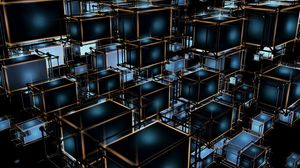 Preview wallpaper cubes, structure, tangled, 3d, volume