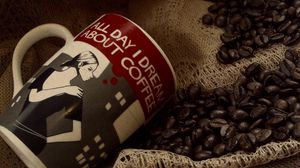 Preview wallpaper cup, coffee, coffee beans