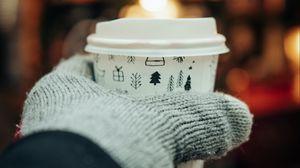 Preview wallpaper cup, hand, glove, glare, blur