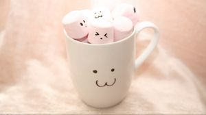 Preview wallpaper cup, marshmallow, smiles