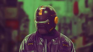 Preview wallpaper cyborg, cyberpunk, helmet, mask, black