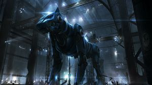 Preview wallpaper cyborg, robot, dog, hangar, people