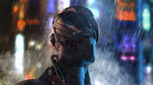 Preview wallpaper cyborg, robot, future, rain