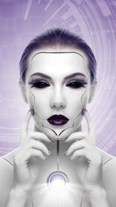 Preview wallpaper cyborg, robot, girl, face, futurism