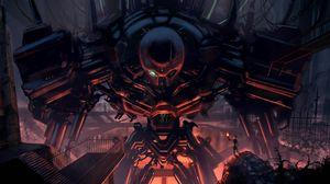Preview wallpaper cyborg, robot, man, torch, chain, break