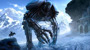 Preview wallpaper cyborg, robot, rider, castle, mountains, ice