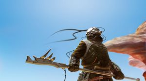 Preview wallpaper cyborg, weapons, sky, sand