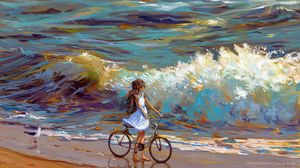 Preview wallpaper cyclist, bicycle, child, art, sea, shore