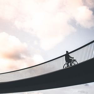 Preview wallpaper cyclist, minimalism, bridge, sky
