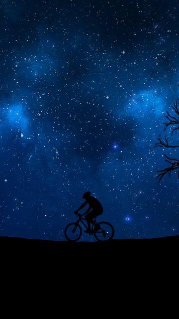 360x640 Wallpaper cyclist, starry sky, silhouette