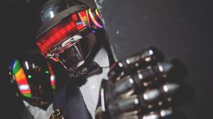 Preview wallpaper daft punk, helmet, man, music