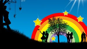 Preview wallpaper dance, people, rainbow, nature