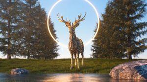 Preview wallpaper deer, 3d, figure, ring, nature