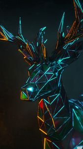 Preview wallpaper deer, 3d, polygon, figure, geometric