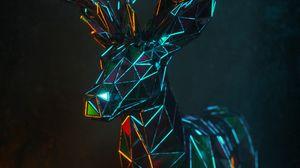 Preview wallpaper deer, 3d, polygon, figure, geometric