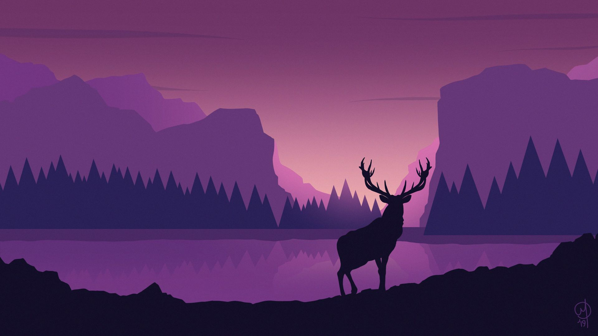 Download Wallpaper 1920x1080 Deer, Art, Vector, Mountains