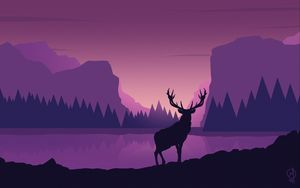 Preview wallpaper deer, art, vector, mountains, landscape