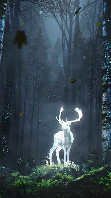 360x640 Wallpaper deer, forest, night, glow, art, grass, trees, leaves