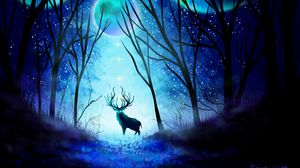 Preview wallpaper deer, forest, night, moon, northern lights, art