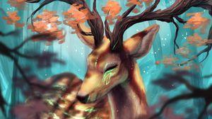 Preview wallpaper deer, horns, branches, art