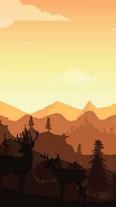 Preview wallpaper deer, horns, silhouette, mountains, art