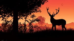 Preview wallpaper deer, horns, sunset, silhouette