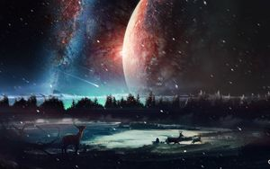 Preview wallpaper deer, planet, art, space, stars