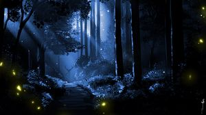 Preview wallpaper deer, silhouette, forest, art, night