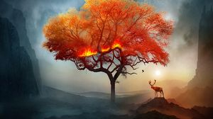 Preview wallpaper deer, tree, art, fire, fantastic