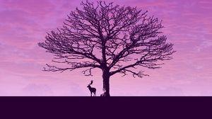 Preview wallpaper deer, tree, minimalism, clouds, sky
