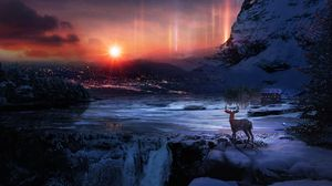 Preview wallpaper deer, winter, night, art, snow