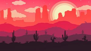 Preview wallpaper desert, cactus, sun, wolf, vector