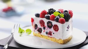 Preview wallpaper dessert, cake, raspberries, sweet, fruit, blueberry, black currant, food, cream