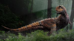 Preview wallpaper dinosaur, grass, trees, reptiles, mesozoic era
