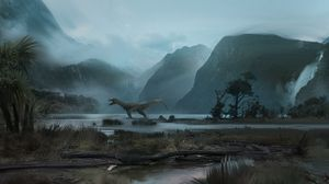 Preview wallpaper dinosaur, mountains, art