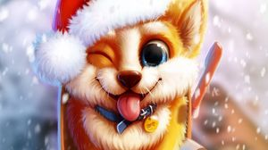 Preview wallpaper dog, cute, mailbox, snow, art