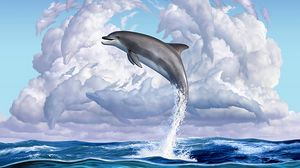 Preview wallpaper dolphin, funny, underwater world, art