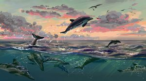 Preview wallpaper dolphins, jump, water, art, sea