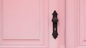Preview wallpaper door, handle, lock, pink