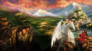 Preview wallpaper dragon, castle, princess, mountain landscape