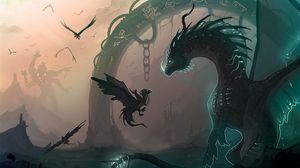 Preview wallpaper dragon, chain, cub, birds