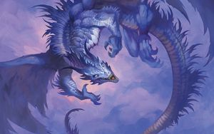 Preview wallpaper dragon, claws, fangs, art, purple