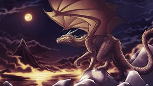 Preview wallpaper dragon, clouds, art, mountains, sky, nighttime