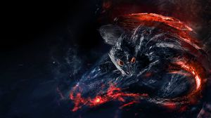 Preview wallpaper dragon, dinosaur, fiery, creature, art