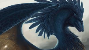 Preview wallpaper dragon, fantasy, art, feathers