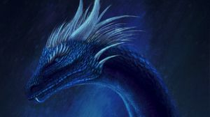 Preview wallpaper dragon, fantasy, creature, blue, art