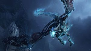 Preview Wallpaper Dragon Fly Jaws Rocks Night
