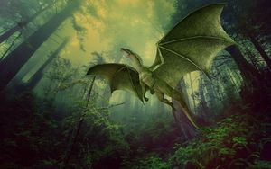 Preview wallpaper dragon, forest, fog, flight, photoshop