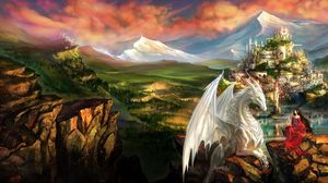 Preview wallpaper dragon, girl, elf, friendship, mountains, castle